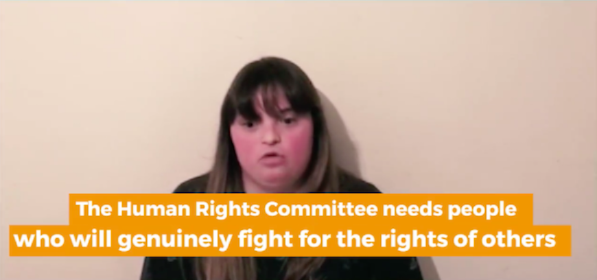 Young woman with Down syndrome answers to UN expert