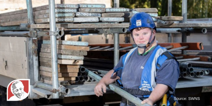 Man with Down syndrome pursues dream job as scaffolder